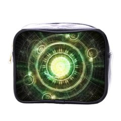 Green Chaos Clock, Steampunk Alchemy Fractal Mandala Mini Toiletries Bags by beautifulfractals