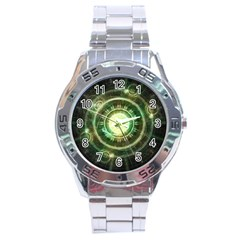 Green Chaos Clock, Steampunk Alchemy Fractal Mandala Stainless Steel Analogue Watch by beautifulfractals