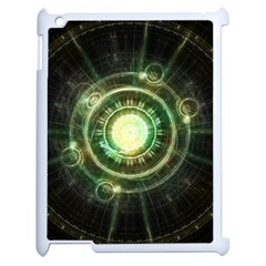 Green Chaos Clock, Steampunk Alchemy Fractal Mandala Apple Ipad 2 Case (white) by beautifulfractals