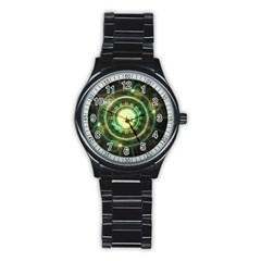 Green Chaos Clock, Steampunk Alchemy Fractal Mandala Stainless Steel Round Watch by beautifulfractals