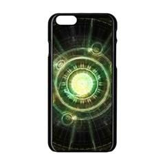 Green Chaos Clock, Steampunk Alchemy Fractal Mandala Apple Iphone 6/6s Black Enamel Case by beautifulfractals