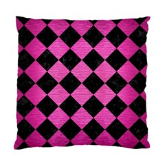 Square2 Black Marble & Pink Brushed Metal Standard Cushion Case (two Sides) by trendistuff