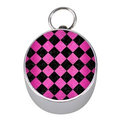 Square2 Black Marble & Pink Brushed Metal Mini Silver Compasses by trendistuff