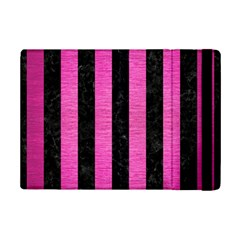 Stripes1 Black Marble & Pink Brushed Metal Ipad Mini 2 Flip Cases by trendistuff