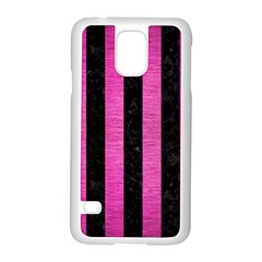 Stripes1 Black Marble & Pink Brushed Metal Samsung Galaxy S5 Case (white) by trendistuff