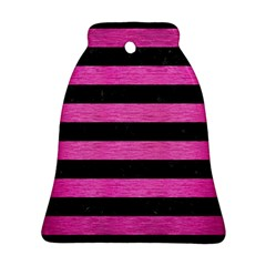 Stripes2 Black Marble & Pink Brushed Metal Bell Ornament (two Sides) by trendistuff