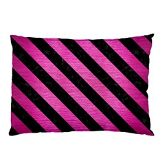 Stripes3 Black Marble & Pink Brushed Metal Pillow Case (two Sides) by trendistuff