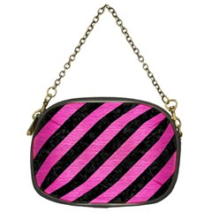 Stripes3 Black Marble & Pink Brushed Metal (r) Chain Purses (one Side)  by trendistuff