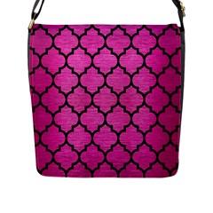 Tile1 Black Marble & Pink Brushed Metal Flap Messenger Bag (l)  by trendistuff