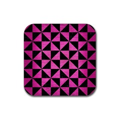 Triangle1 Black Marble & Pink Brushed Metal Rubber Square Coaster (4 Pack)  by trendistuff