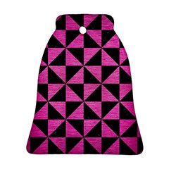 Triangle1 Black Marble & Pink Brushed Metal Bell Ornament (two Sides) by trendistuff