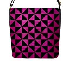 Triangle1 Black Marble & Pink Brushed Metal Flap Messenger Bag (l)  by trendistuff