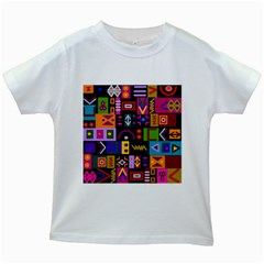 Abstract A Colorful Modern Illustration Kids White T Shirts by Celenk