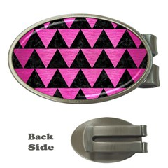 Triangle2 Black Marble & Pink Brushed Metal Money Clips (oval)  by trendistuff
