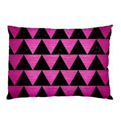 Triangle2 Black Marble & Pink Brushed Metal Pillow Case by trendistuff