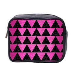 Triangle2 Black Marble & Pink Brushed Metal Mini Toiletries Bag 2 Side by trendistuff