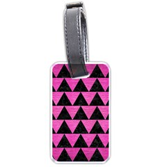 Triangle2 Black Marble & Pink Brushed Metal Luggage Tags (two Sides) by trendistuff