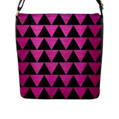 Triangle2 Black Marble & Pink Brushed Metal Flap Messenger Bag (l)  by trendistuff