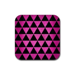 Triangle3 Black Marble & Pink Brushed Metal Rubber Square Coaster (4 Pack)  by trendistuff