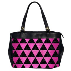 Triangle3 Black Marble & Pink Brushed Metal Office Handbags (2 Sides)  by trendistuff