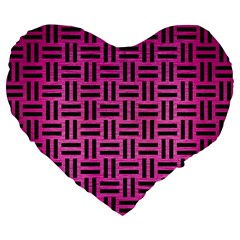 Woven1 Black Marble & Pink Brushed Metal Large 19  Premium Flano Heart Shape Cushions by trendistuff
