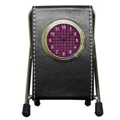 Woven1 Black Marble & Pink Brushed Metal (r) Pen Holder Desk Clocks by trendistuff