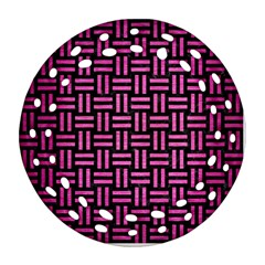 Woven1 Black Marble & Pink Brushed Metal (r) Ornament (round Filigree) by trendistuff