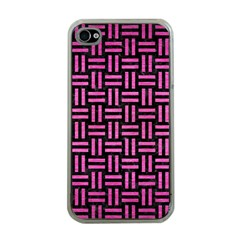 Woven1 Black Marble & Pink Brushed Metal (r) Apple Iphone 4 Case (clear) by trendistuff