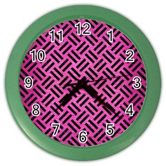 Woven2 Black Marble & Pink Brushed Metal Color Wall Clocks by trendistuff