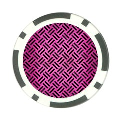 Woven2 Black Marble & Pink Brushed Metal Poker Chip Card Guard by trendistuff