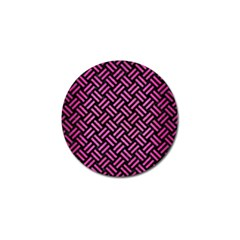 Woven2 Black Marble & Pink Brushed Metal (r) Golf Ball Marker by trendistuff