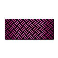 Woven2 Black Marble & Pink Brushed Metal (r) Cosmetic Storage Cases by trendistuff