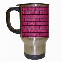 Brick1 Black Marble & Pink Denim Travel Mugs (white) by trendistuff