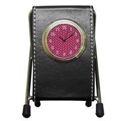 Brick2 Black Marble & Pink Denim Pen Holder Desk Clocks by trendistuff