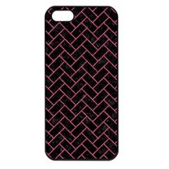 Brick2 Black Marble & Pink Denim (r) Apple Iphone 5 Seamless Case (black) by trendistuff