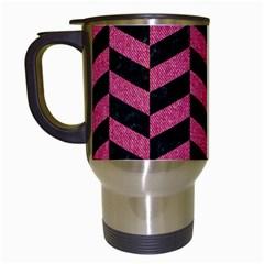 Chevron1 Black Marble & Pink Denim Travel Mugs (white) by trendistuff