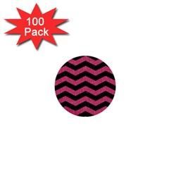 Chevron3 Black Marble & Pink Denim 1  Mini Buttons (100 Pack)  by trendistuff