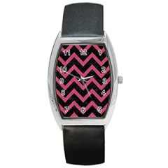Chevron9 Black Marble & Pink Denim (r) Barrel Style Metal Watch by trendistuff