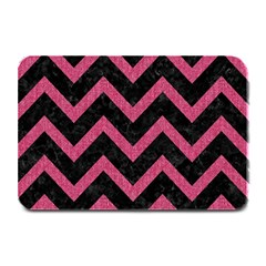 Chevron9 Black Marble & Pink Denim (r) Plate Mats by trendistuff