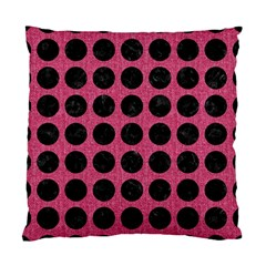 Circles1 Black Marble & Pink Denim Standard Cushion Case (two Sides) by trendistuff