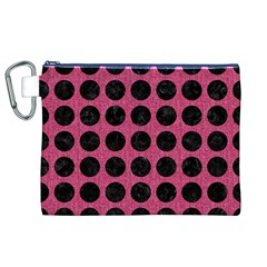 Circles1 Black Marble & Pink Denim Canvas Cosmetic Bag (xl) by trendistuff