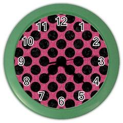 Circles2 Black Marble & Pink Denim Color Wall Clocks by trendistuff