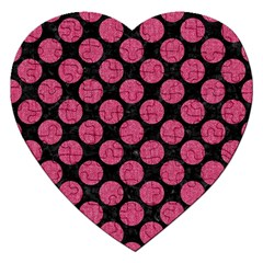 Circles2 Black Marble & Pink Denim (r) Jigsaw Puzzle (heart) by trendistuff