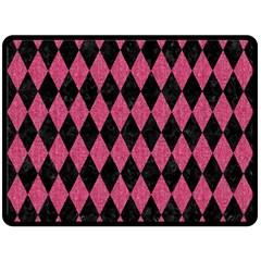 Diamond1 Black Marble & Pink Denim Double Sided Fleece Blanket (large)  by trendistuff