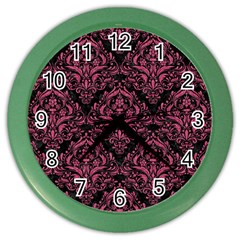 Damask1 Black Marble & Pink Denim (r) Color Wall Clocks by trendistuff