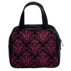 Damask1 Black Marble & Pink Denim (r) Classic Handbags (2 Sides) by trendistuff