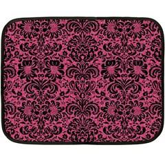 Damask2 Black Marble & Pink Denim Fleece Blanket (mini) by trendistuff