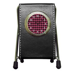 Houndstooth1 Black Marble & Pink Denim Pen Holder Desk Clocks by trendistuff