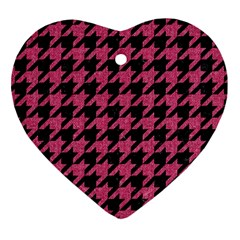 Houndstooth1 Black Marble & Pink Denim Heart Ornament (two Sides) by trendistuff
