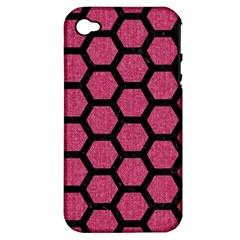 Hexagon2 Black Marble & Pink Denim Apple Iphone 4/4s Hardshell Case (pc+silicone) by trendistuff